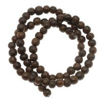 Round Wood Beads Brown 6-6.5mm /16 Inch Strand