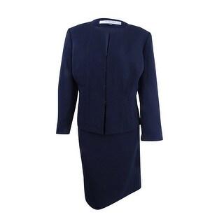 Tahari ASL Women's Plus Size Pintucked Peplum Skirt Suit - Navy