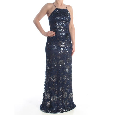 ADRIANNA PAPELL Womens Navy Floral Sequin Spaghetti Strap Square Neck Full-Length Sheath Formal Dress Size: 0