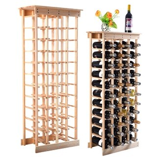Costway Wood Wine Rack Stackable Storage Storage Display Shelves (44-Bottle) - Natural Pinewood