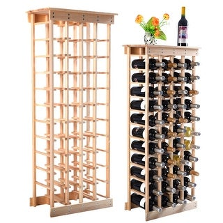 Costway Wood Wine Rack Stackable Storage Storage Display Shelves (44-Bottle)