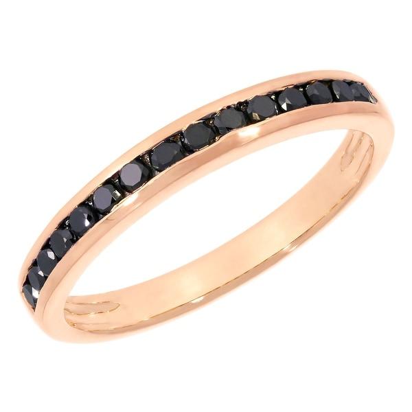 Prism Jewel 0.51Ct Channel Set Round Brilliant Cut Black Diamond Anniversary Ring
