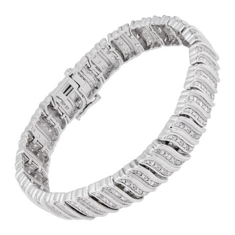 2 ct Diamond Tennis Bracelet in Rhodium-Plated Brass, 7.5 Inches (2.00 cttw, I-J Color, I3 Clarity)