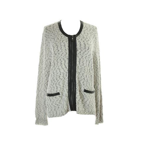 Alfani Ivory Faux-Leather-Trim Textured Zip Jacket XS