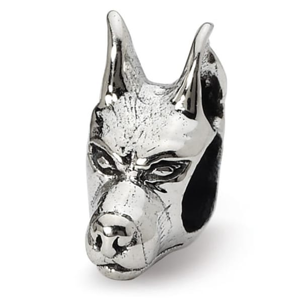 Sterling Silver Reflections Doberman Pinscher Head Bead (4mm Diameter Hole)