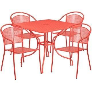Westbury Square 35.5u0027u0027 Coral Indoor Outdoor Steel Table Set W/4 Round