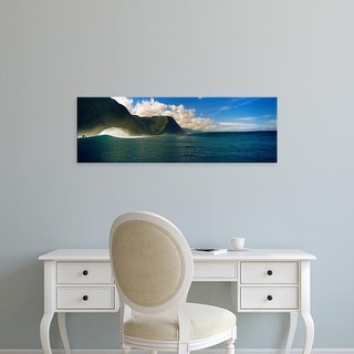 Easy Art Prints Panoramic Images's 'Rolling waves with mountains in the background, Molokai, Hawaii' Canvas Art