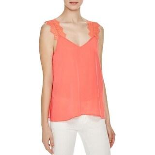 Cami NYC Womens Tank Top Silk Lace-Trim - l