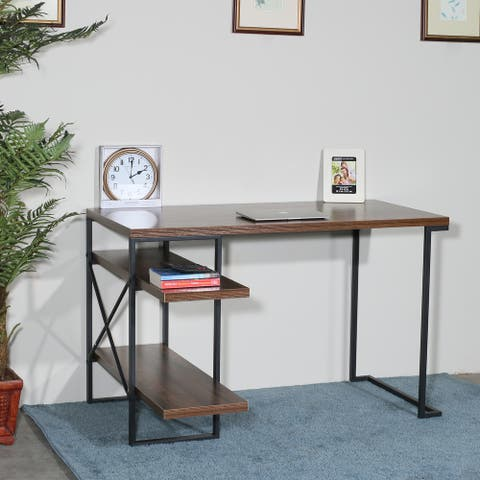 L - Shaped Home Office Desk with 2 Antigue Wood Shelves