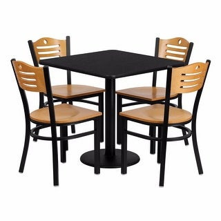 Offex 30'' Square Black Laminate Table Set with Wood Slat Back Metal Chair and Natural Wood Seat