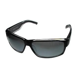 Perry Ellis Mens Sunglass PE16 1 Crystal Black Plastic Wrap, Light Smoke Lens - Medium