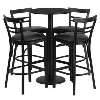 Offex 24'' Round Black Laminate Table Set with 4 Ladder Back Bar Stools - Black Vinyl Seat [OF-RSRB1033-GG]