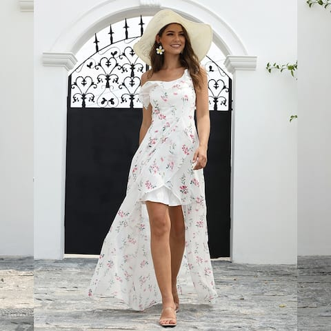 Ever-Pretty Womens Floral One Shoulder High Low Summer Beach Bridesmaid Dresses 07240