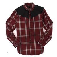 INC Vintage Wine Red Mens Size XL Button Down Plaid Western Shirt