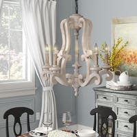 Rustic 5-Light Distressed Antique White Wood Chandelier