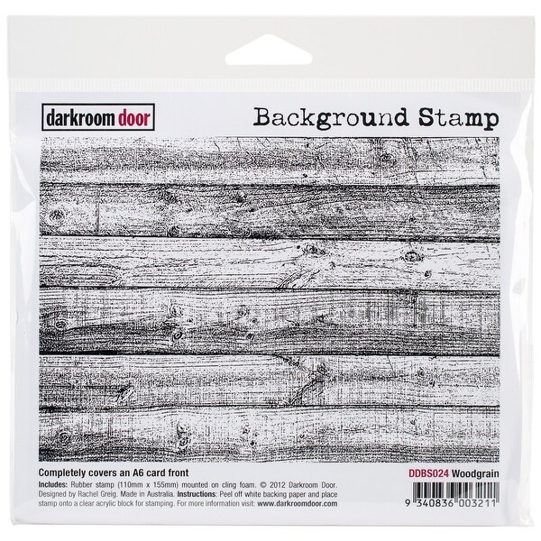 """Darkroom Door Background Cling Stamp 4""""X6""""-Woodgrain"""