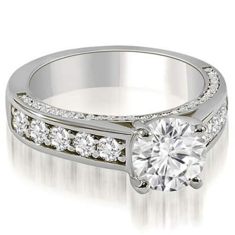 78e5437d092289 1.00 CT Antique Style Cathedral Round Diamond Engagement Ring in 14KT -  White H-I