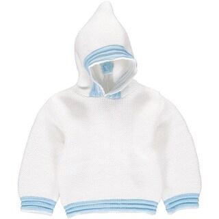 Julius Berger Baby Boys White Blue Stitch Detail Hooded Zip Back Sweater