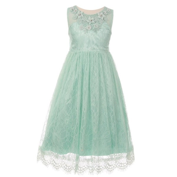 6c503aa02a0f Shop Girls Mint Floral Decorated Lace Junior Bridesmaid Dress - Free  Shipping On Orders Over $45 - Overstock - 18176621