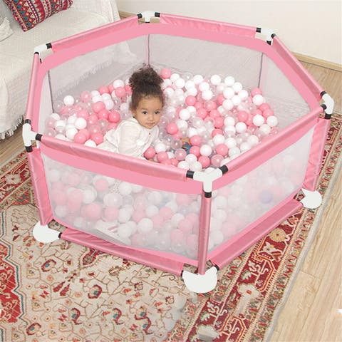 Baby Playpen, Playard for Baby - Safety Play Pen for Infant and Baby, with Basketball Board