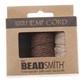 Beadsmith Natural Hemp Twine Bead Cord 1mm Three Color Variety 29.5 Feet Each