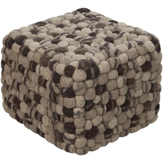 "12"" Taupe and Gray Shag Checkerboard Wool Square Pouf Ottoman"