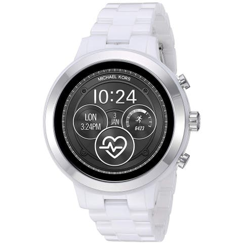 Michael Kors Women's Access Runway MKT5050 White Ceramic Strap Touchscreen Gen 4 Smartwatch - One Size