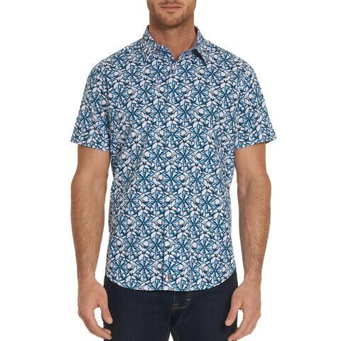 Robert Graham Mens Jaws Pattern Regular Fit Button-Down Shirt Medium Blue