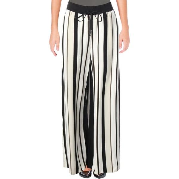 b7d362a912 Lafayette 148 New York Womens Allen Wide Leg Pants Striped Drawstring