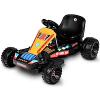 Goplus Electric Powered Go Kart Kids Ride On Car 4 Wheel Racer Buggy Toy Outdoor Black