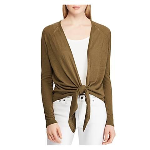RALPH LAUREN Womens Green Long Sleeve V Neck Sweater Size L