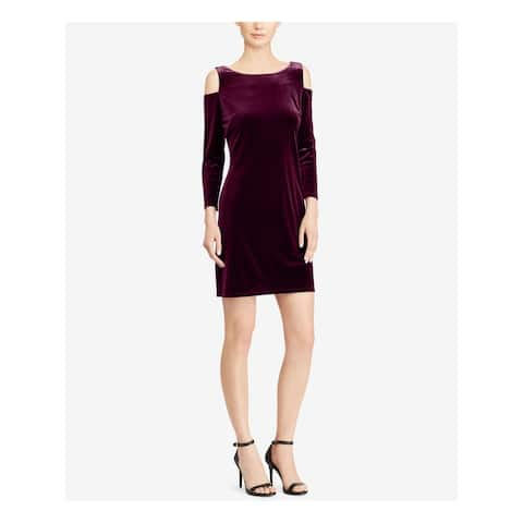 AMERICAN LIVING Purple 3/4 Sleeve Mini Sheath Dress Size 10