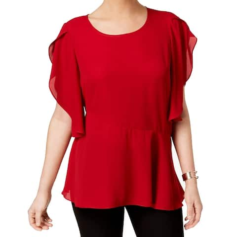 NY Collection Red Women's Small S Cape-Sleeved Asymmetrical-Hem Top
