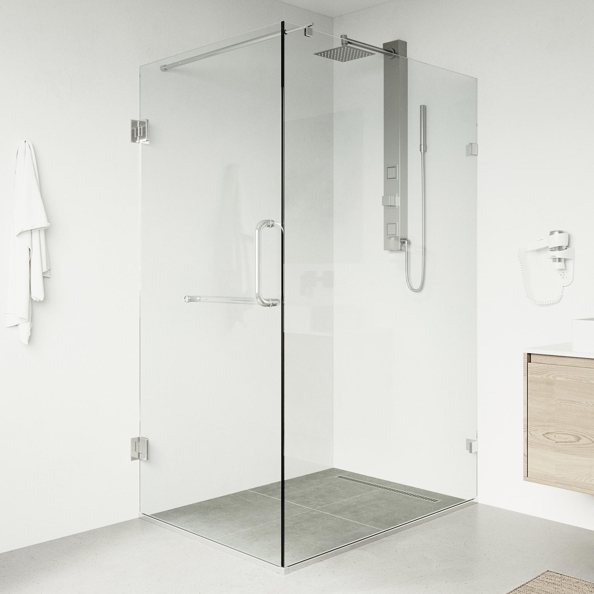 Vigo Frameless Clear Shower Enclosure 36 X 48 Overstock 4804053 Brush Nickel