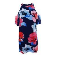 Vince Camuto Women's Floral-Print Cold-Shoulder Dress (14, Navy/Multi) - Navy/Multi - 14