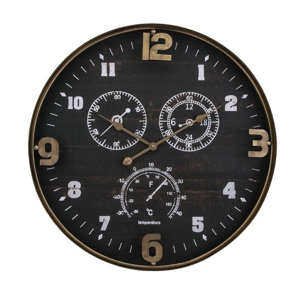 "IMAX Home 64501 27-1/2"" Diameter Clark Analog Wall Clock - Black"