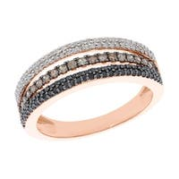 Prism Jewel 0.76ct Round Brilliant Cut Multi Color Diamond Half Eternity Ring