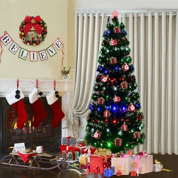Costway 7Ft Fiber Optic Artificial Christmas Tree w/275 Multi-color LED Lights and Stand