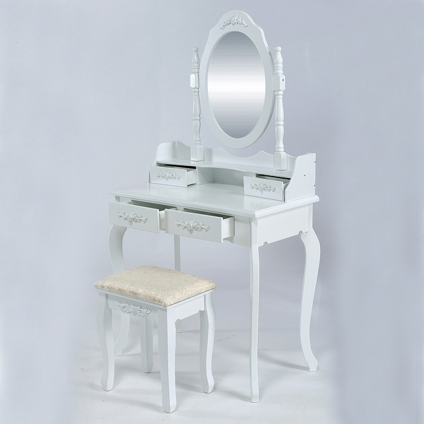 Shop Belleze Wood Makeup Vanity Table Set with Mirror and Stool ...