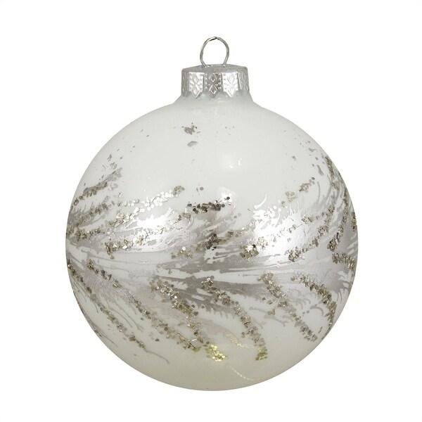 "Sparkling Whites Silver Swirled White Glass Ball Christmas Ornament 4"" (100mm)"