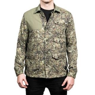 Moncler Men's Camoflauge Flannel Shell Shirt Green