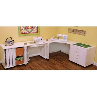 Arrow Mod Squad 4-Piece Modular Combo Sewing Machine Table Cabinet - White