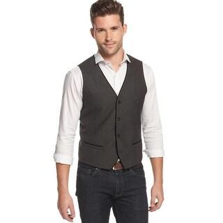 Alfani Red Label Slim Fit Shimmer Velvet Piped Vest Charcoal Grey (Option: S)