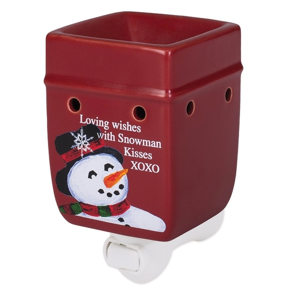 """5.25"""" Red and White Snowman Printed Plug-in Tart Warmer - N/A"""