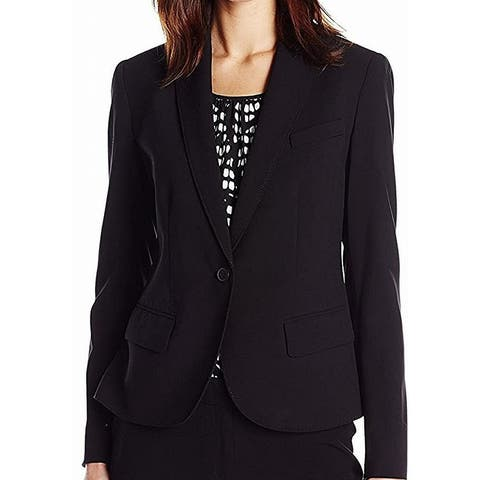 Anne Klein Black Blazer One-Button Women's 8 Notched-Collar Jacket