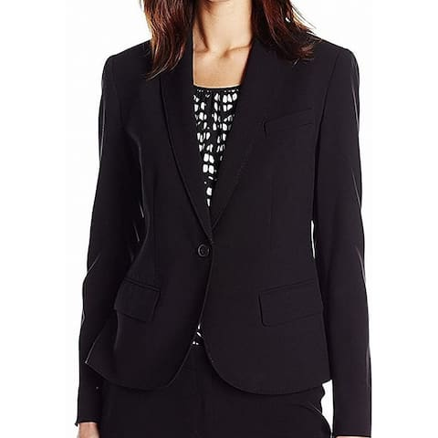 Anne Klein Womens Blazers Black Size 10 Stretch Notched-Lapel Solid