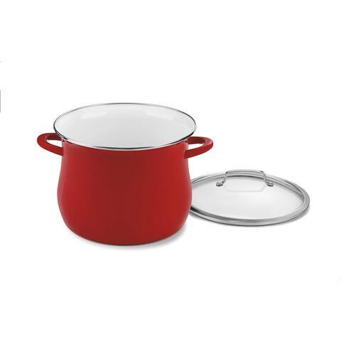 Cuisinart EOSB126-28R Enamel on Steel 12 Qt. Stockpot w/Cover, Red