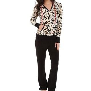 Betsey Johnson NEW Black Womens Size L Animal-Print Pajama Set Sleepwear