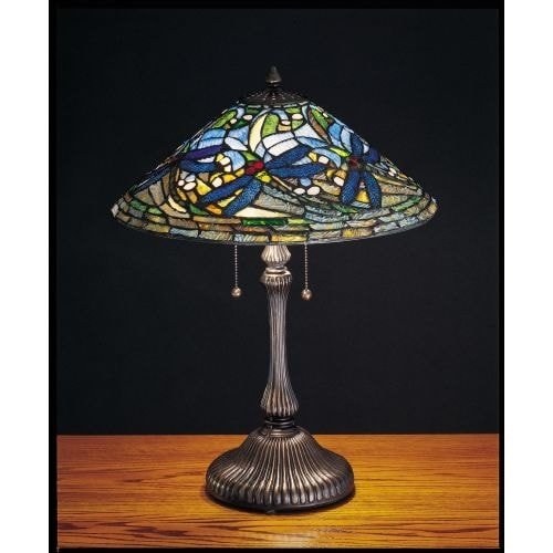 Meyda Tiffany 27510 Stained Glass / Tiffany Table Lamp From The Tiffany  Dragonfly Collection