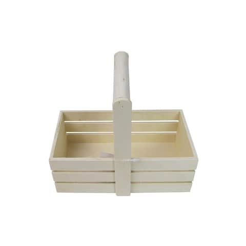 "SPC Wood Crate Basket 7.25x6.2x4.2"" Natural"